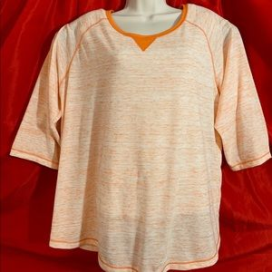 WOMAN WITHIN  Orange 3/4 Sleeve Pullover Top  1X